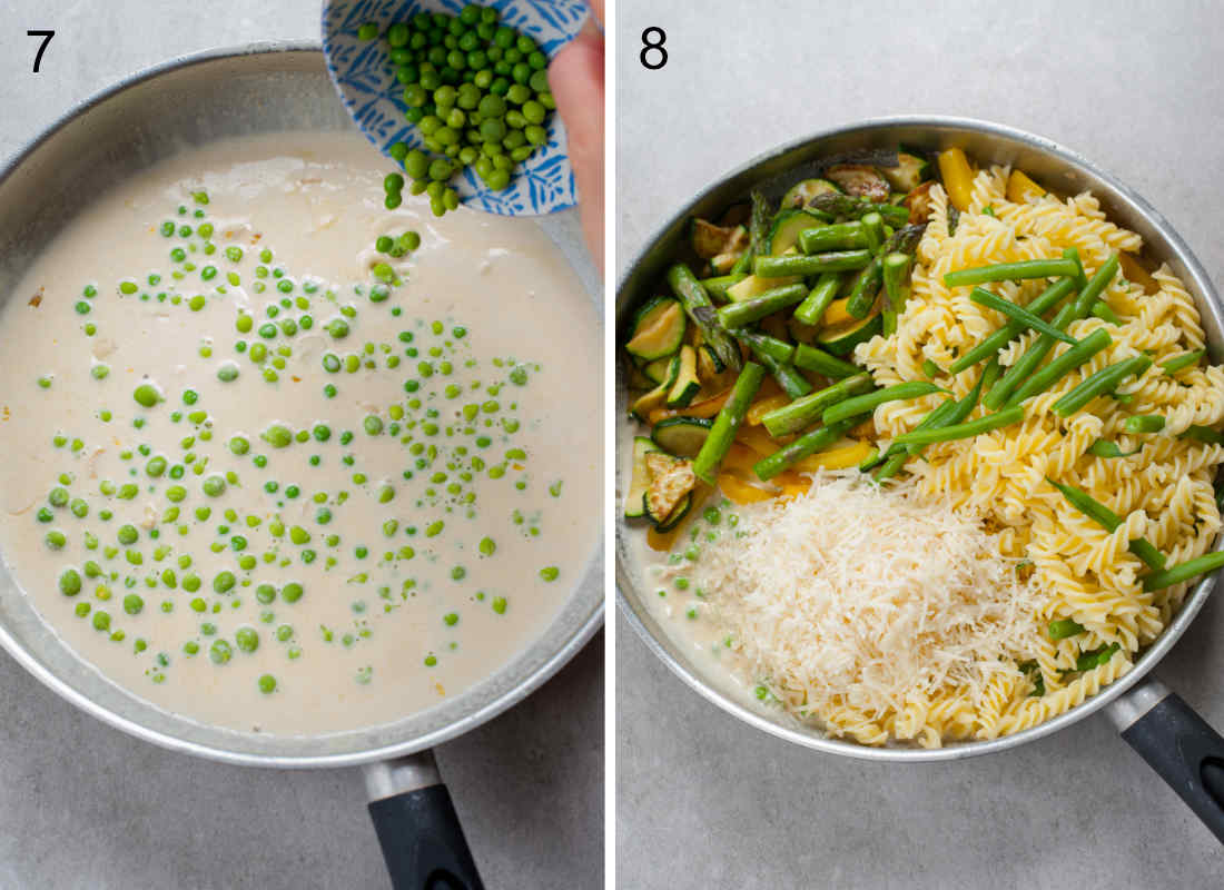 groszek jest dodawany do śmietanowego sosu, wszystkie składniki na makaron primavera na patelni