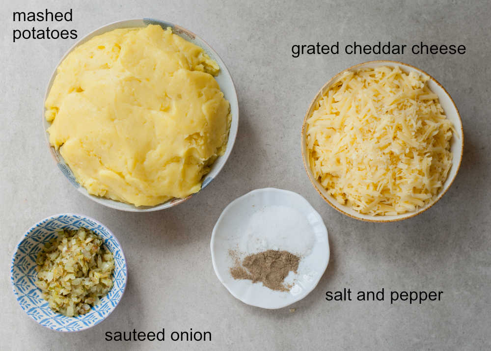 ingredients needed to prepare potato and cheese pierogi filling