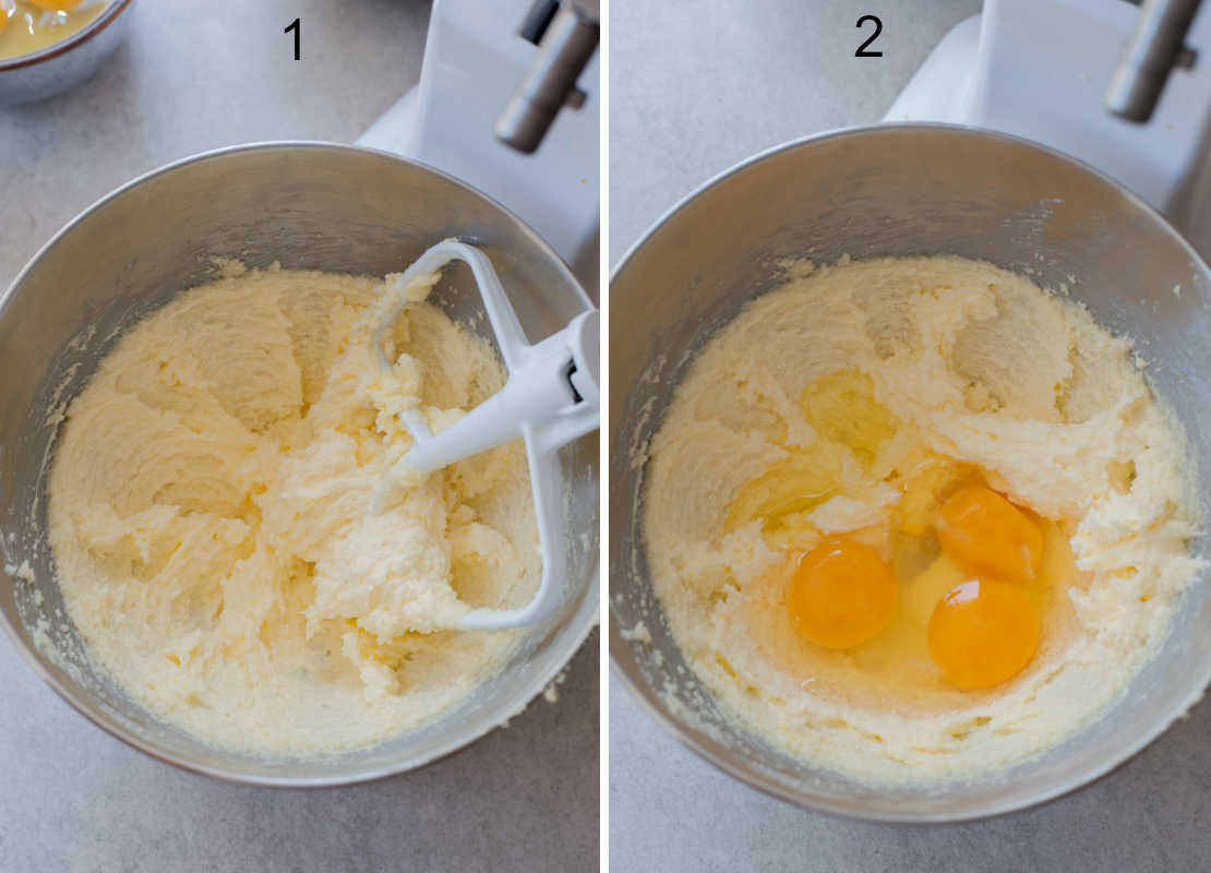 creamed sugar and butter in a metal bowl, eggs with creamed sugar and butter