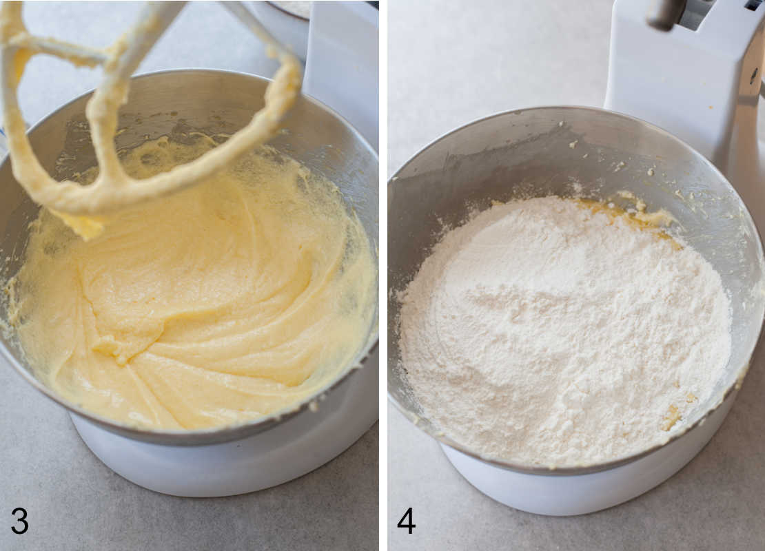 creamed butter and sugar with eggs, flour added to a bowl
