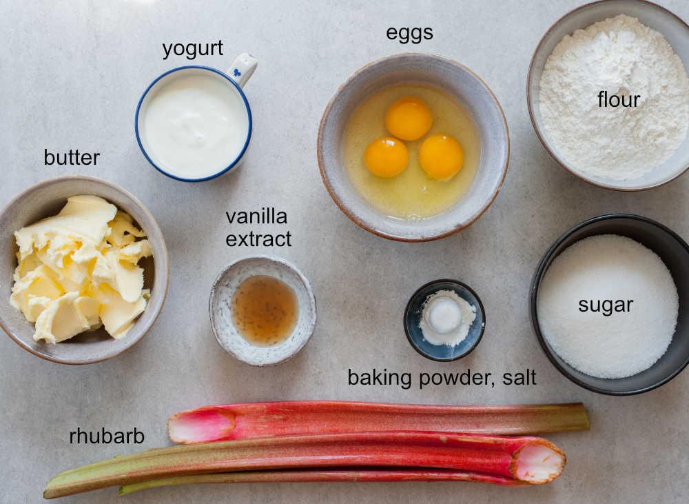 ingredients needed to make easy rhubarb cake
