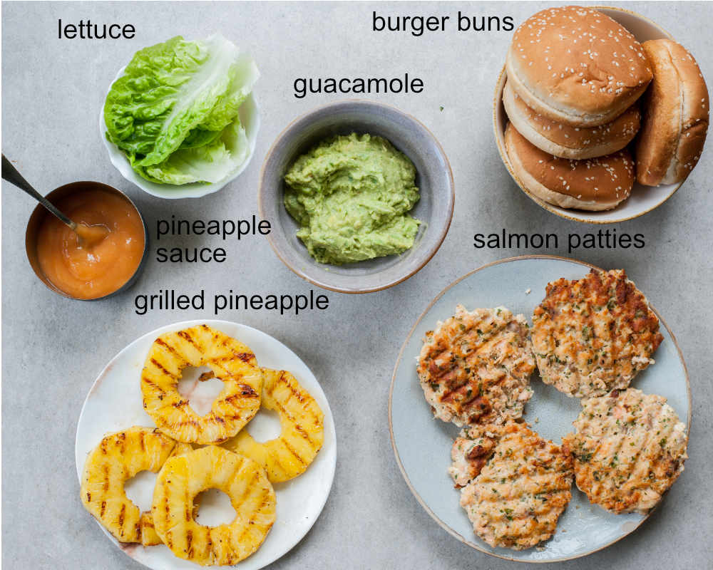 Ingredients needed to prepare salmon burgers with pineapple and guacamole.
