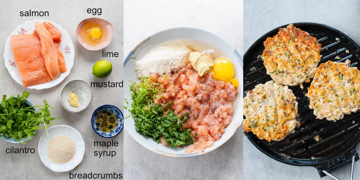 Ingredients and preparation steps of salmon patties.