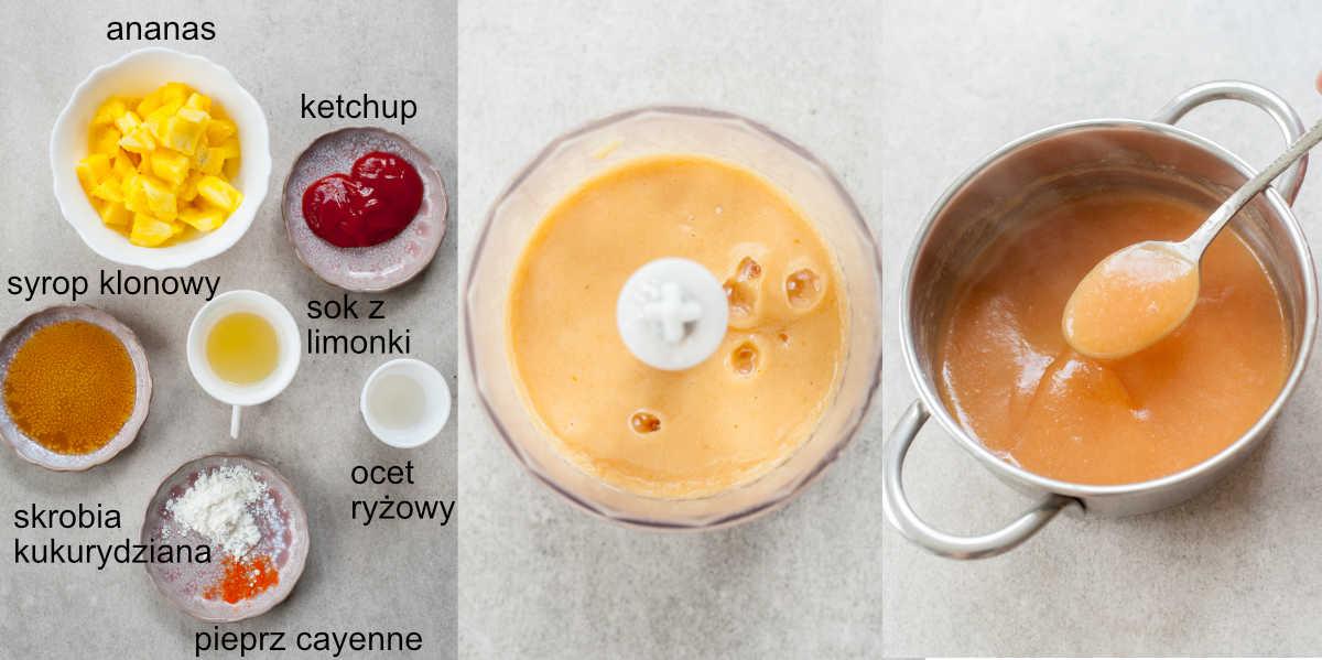 składniki i etapy przygotowania sosu z ananasa