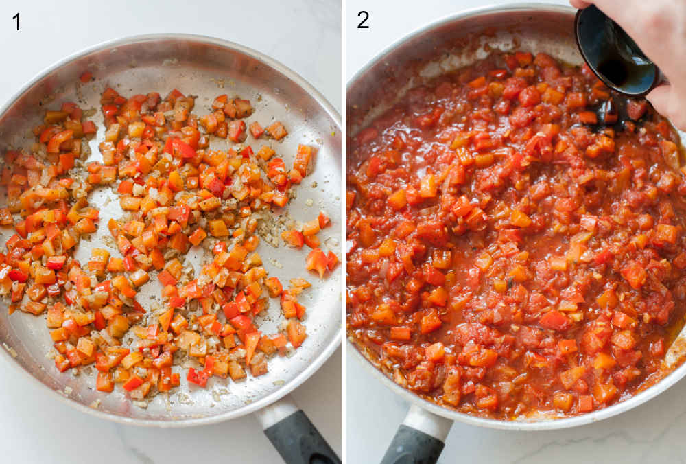 left photo: onion, garlic and bell paprika in a pan, right photo: paprika tomato sauce in a pan
