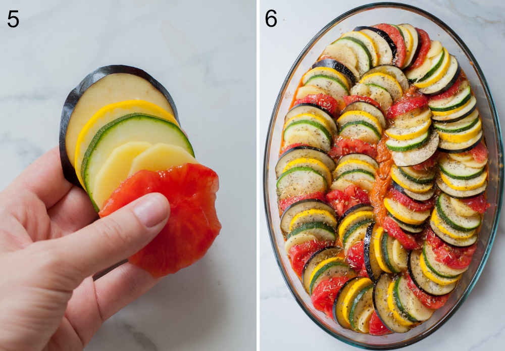 sliced vegetables arranged in a baking dish