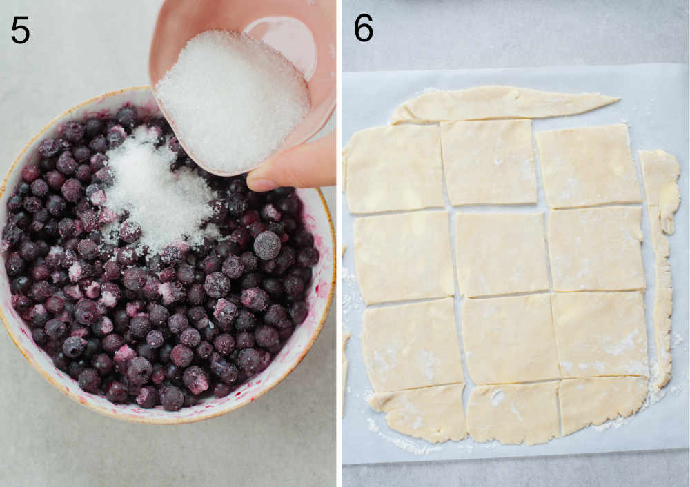 left photo: sugar is being added to blueberries, right: rolled out dough cut into squares
