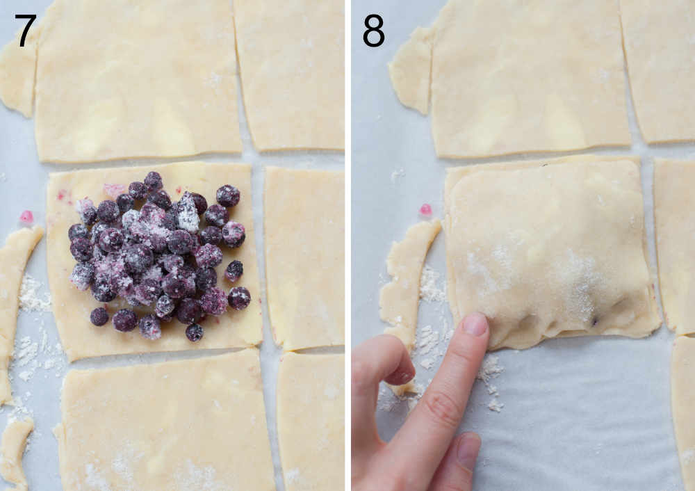 left: blueberries on a square piece of dough, right: edges of hand pies are being pinched