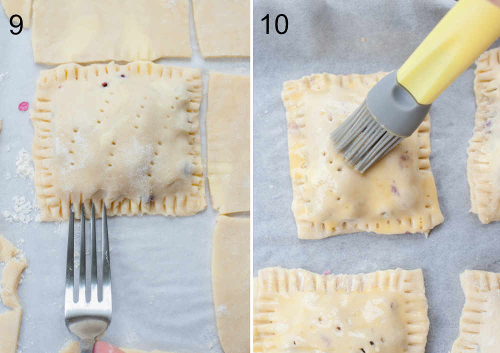 edges of a hand pie are being pinched with a fork and brushed with egg wash