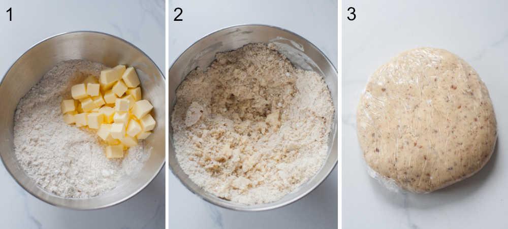 etapy przygotowania kruchego ciasta migdałowego