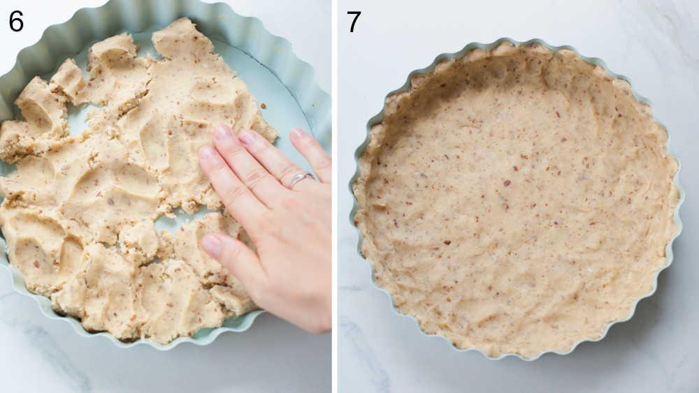 wylepianie formy na tartę ciastem kruchym