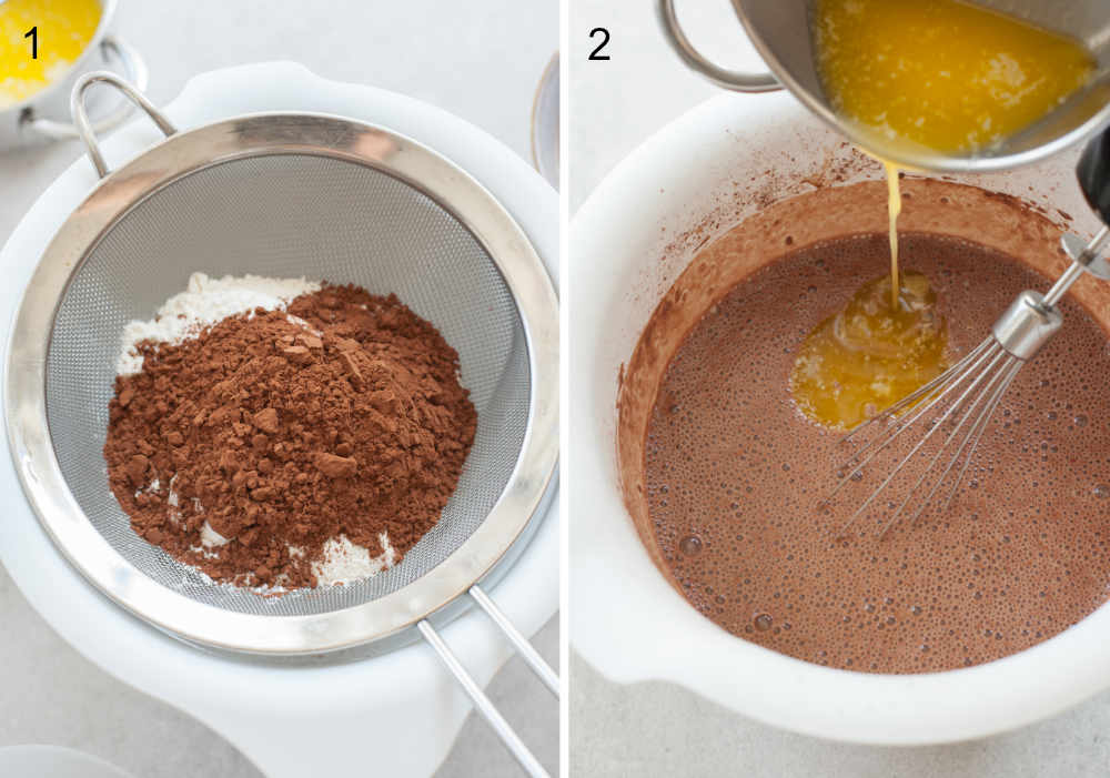left: flour and cocoa are being sifted, right: butter is being added to pancake batter