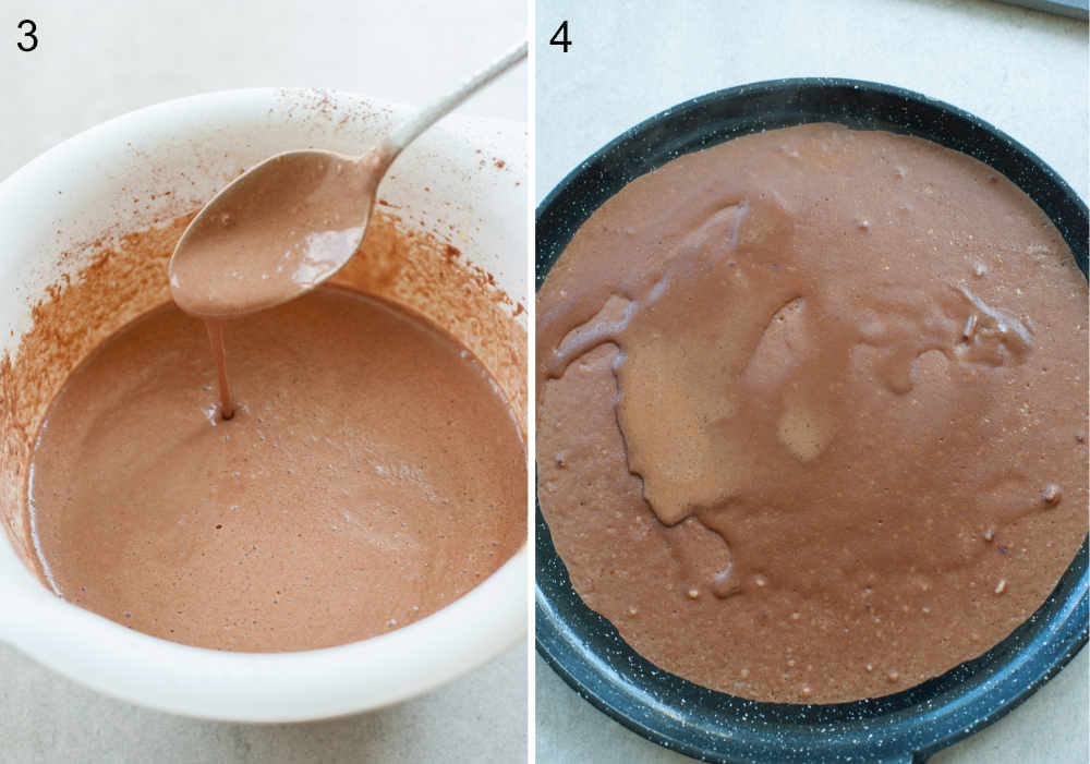 left: chocolate crepe batter in a bowl, right: crepe batter in a pan