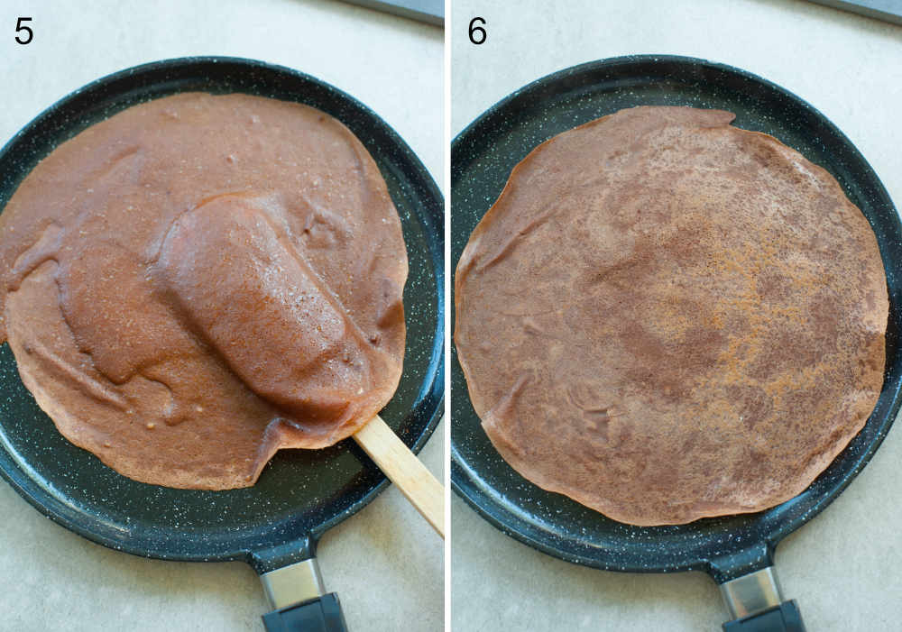cooking chocolate crepes in a black pancake pan