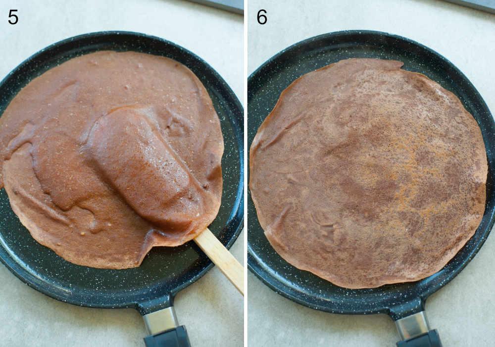 przewracanie i smażenie czekoladowych naleśników na czarnej patelni