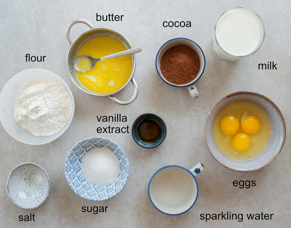 ingredients needed to prepare chocolate crepes