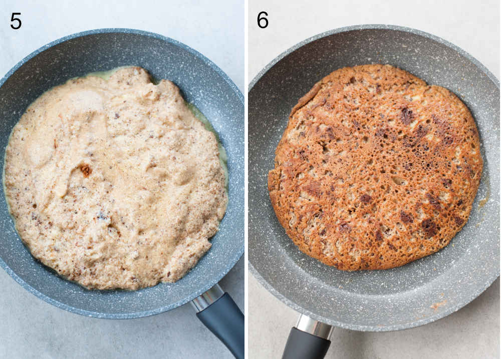 left photo: omelet batter in a pan, right photo: cooked omelet in a pan