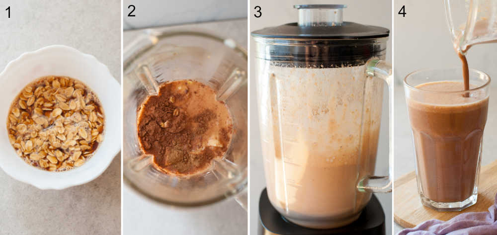 Four photo collage showing preparations steps of a coffee smoothie.