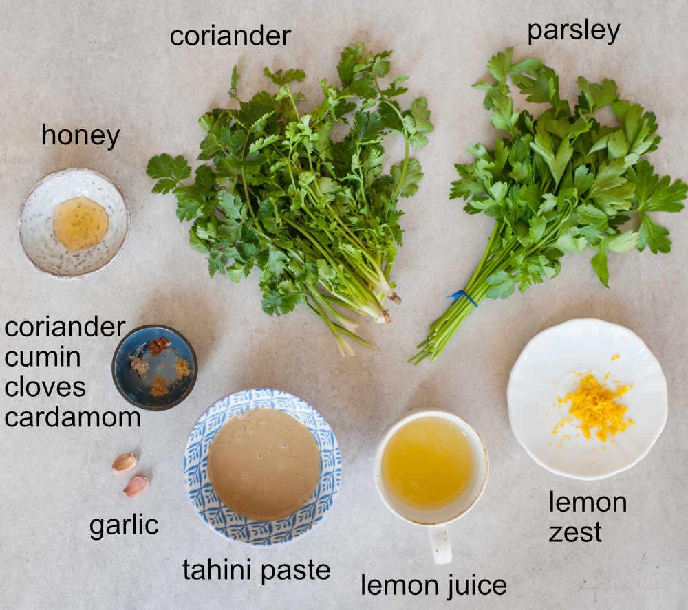 green tahini sauce ingredients