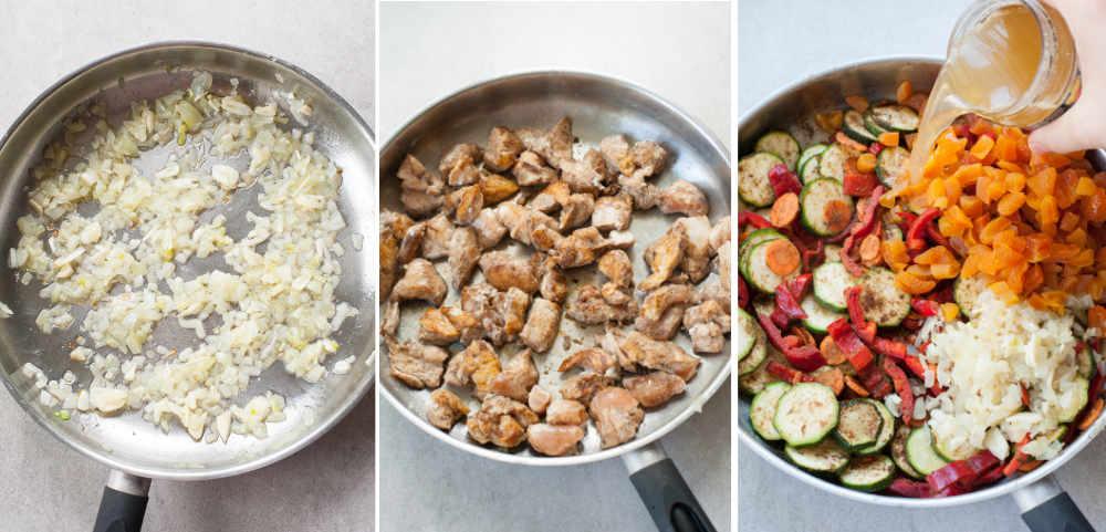 etapy przygotowania kurczaka po marokańsku (smażenie cebuli, kurczaka i warzyw na patelni)