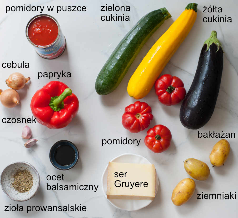składniki na pieczone ratatouille