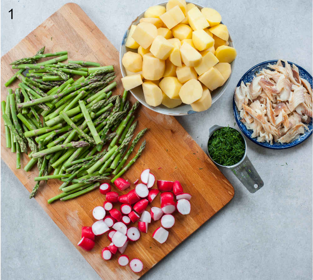 chopped and prepared ingredients for potato and asparagus salad