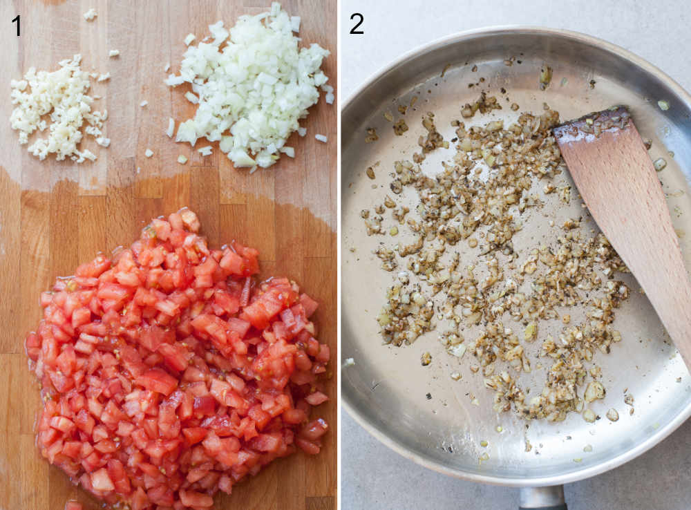 left photo: chopped tomatoes, onion and garlic, right photo: sauteed onion, garlic and spices in a pan