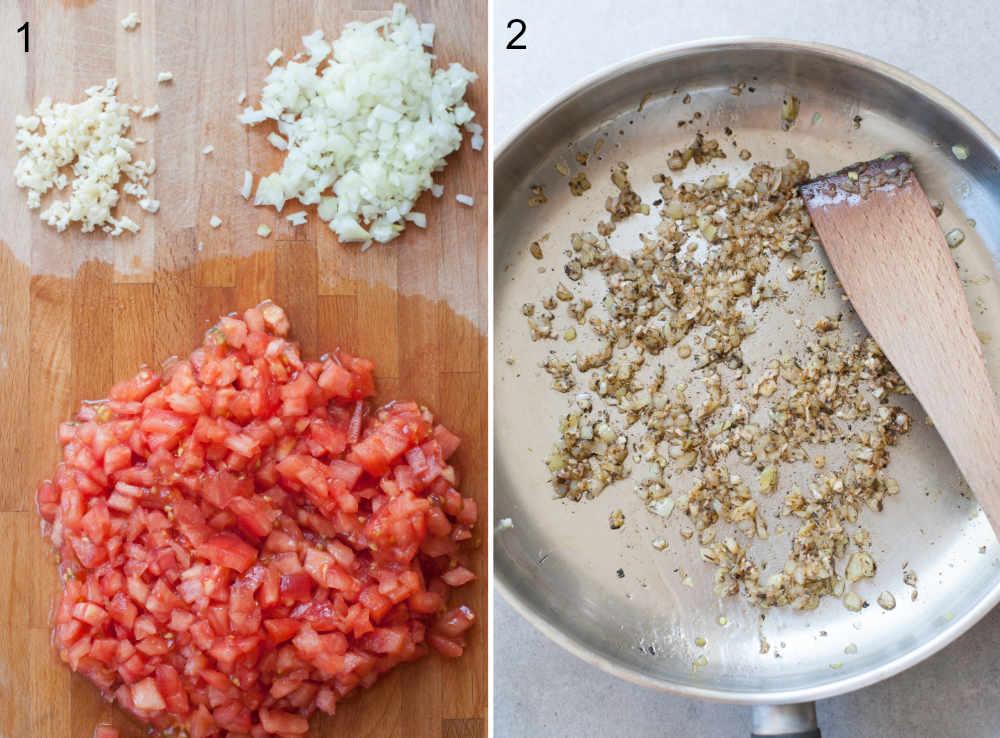 pokrojne pomidory, cebula i czosnek na desce, podsmażona cebula i czosnek na patelni
