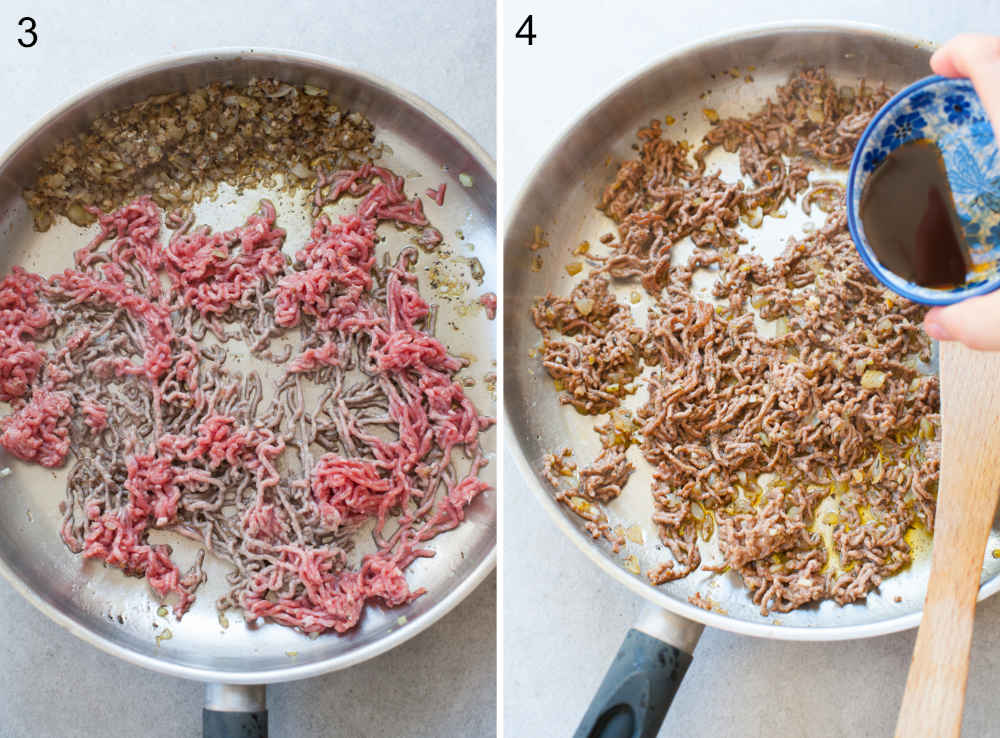 ground beef is being cooked in a pan and seasoned with Worcestershire sauce