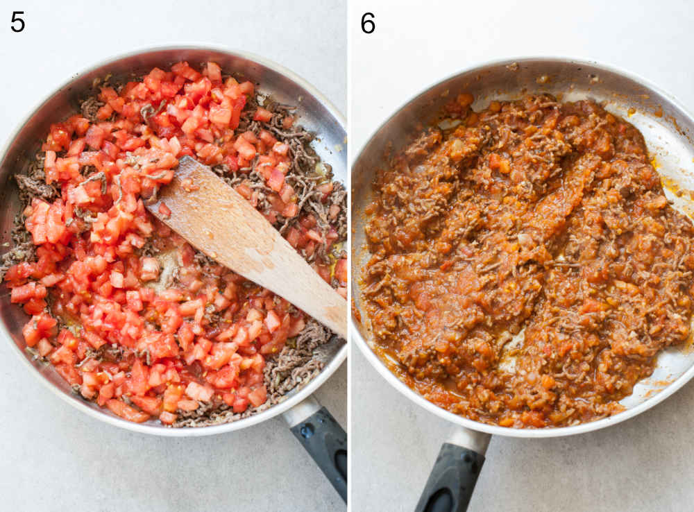fresh tomato meat sauce in a pan