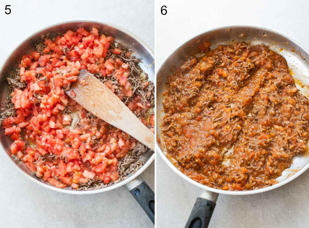 sos ze świeżych pomidorów i mięsa mielonego na patelni