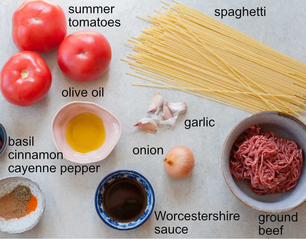 ingredients needed to prepare spaghetti with fresh tomato meat sauce