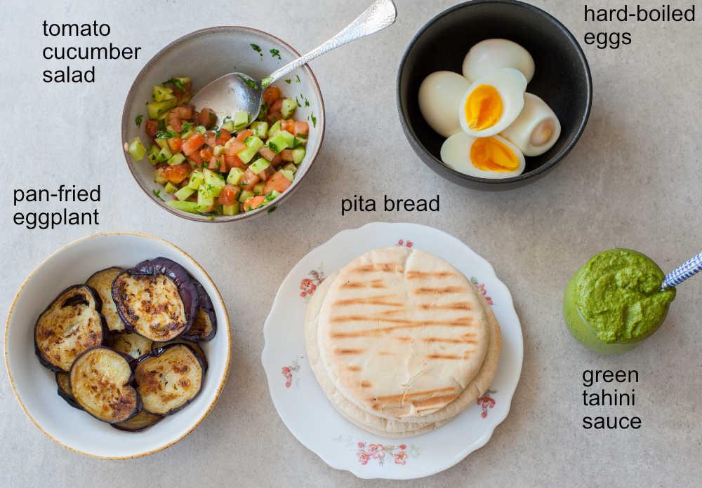 ingredients needed to prepare sabich sandwich