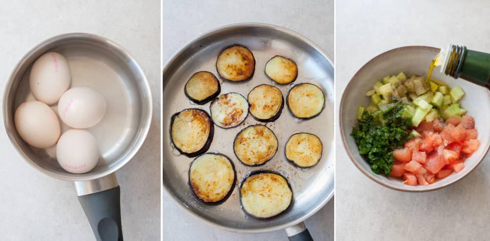 kolaż 3 zdjęć przedstawiający etapy przygotowania kanapki sabich