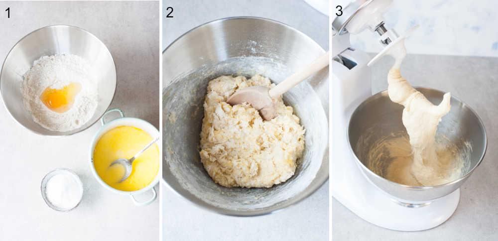 a collage of 3 photos showing preparation steps of a yeast dough