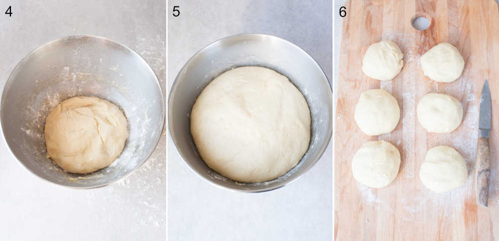 proofing yeast dough in a metal bowl, yeast dough divided into 8 buns on a chopping board