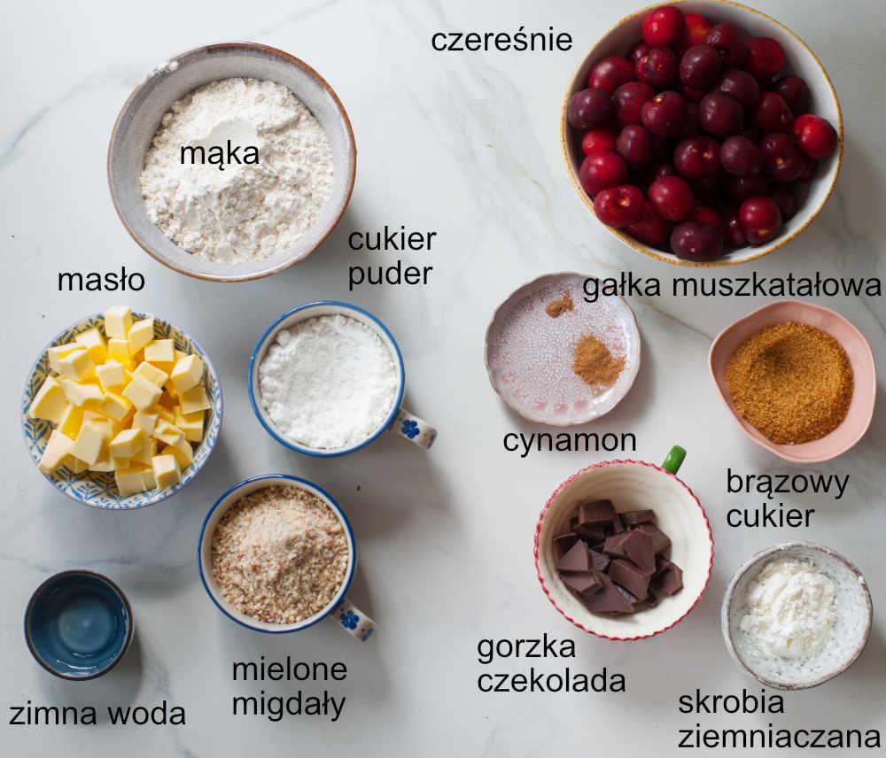 składniki na tartę z czereśniami
