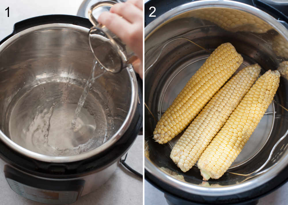 left photo: water is being poured into the instant pot, right photo: ears of corn in the instant pot