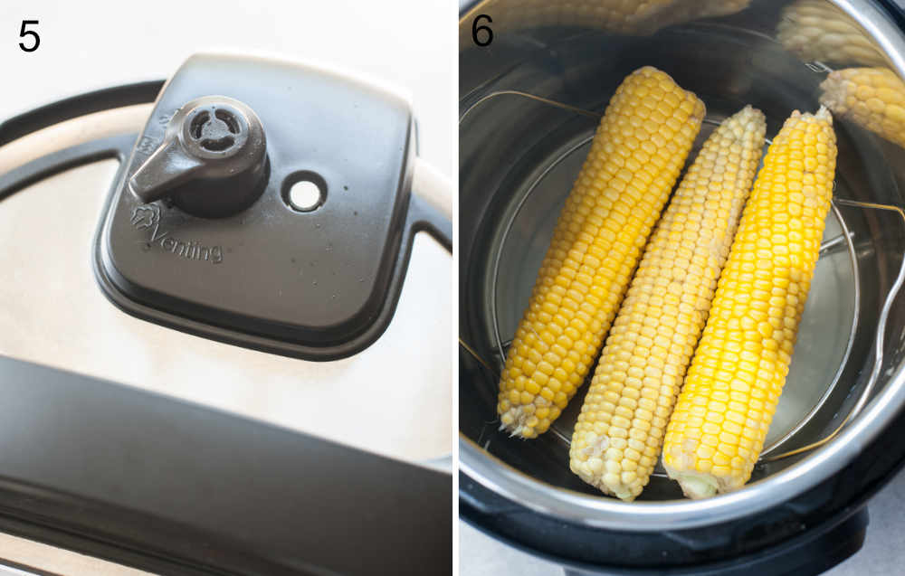 instant pot valve set to venting position, cooked corn in the instant pot