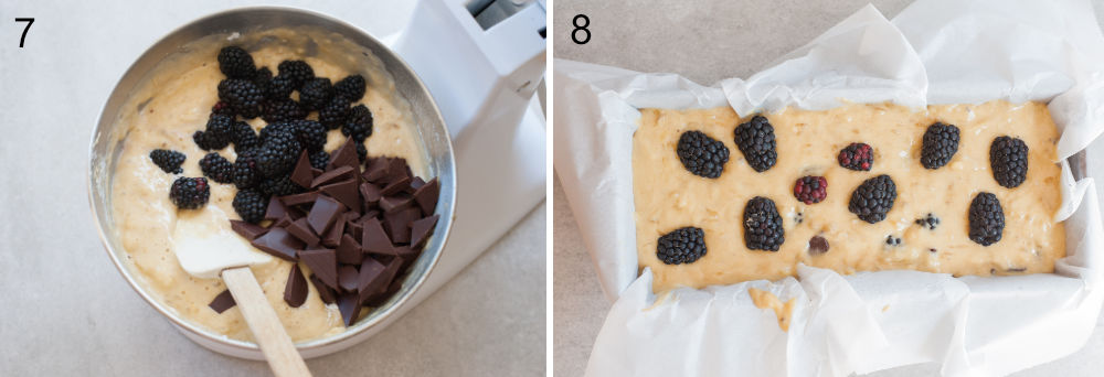 left: blackberries and chocolate are being added to the bread batter, right: batter in a baking pan