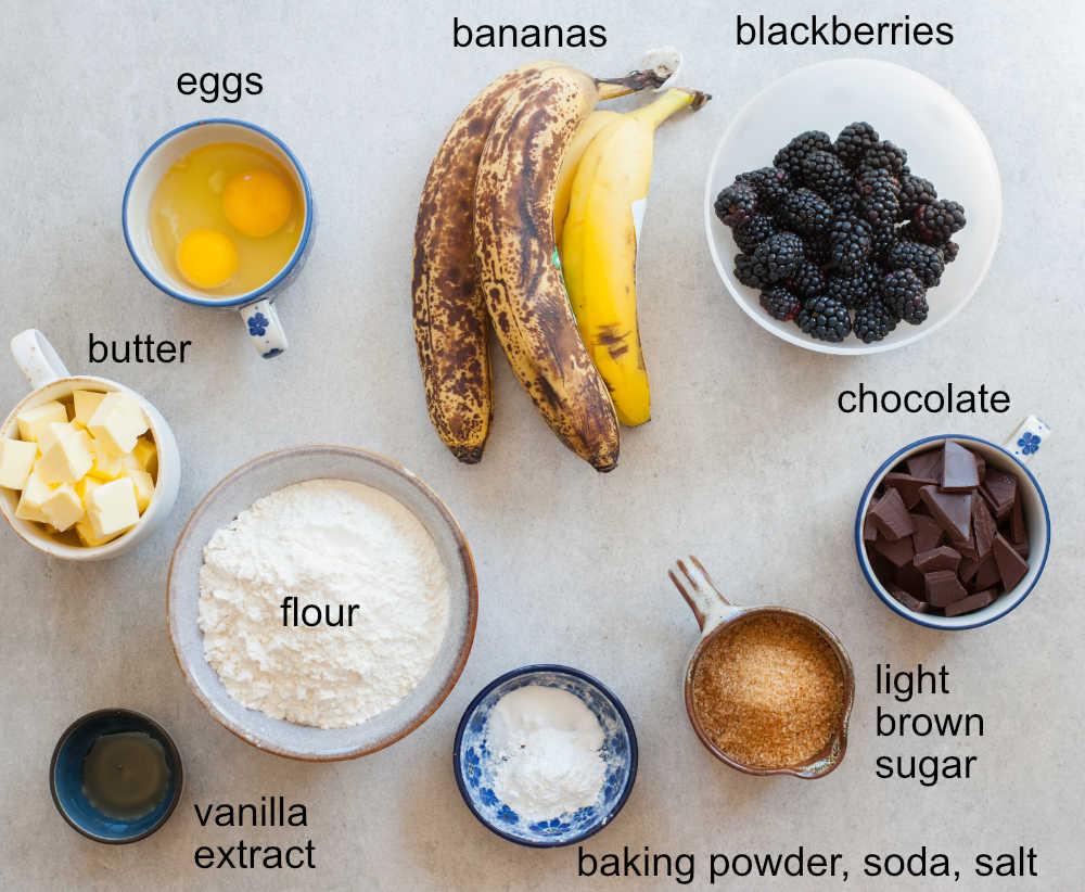 ingredients for blackberry banana bread
