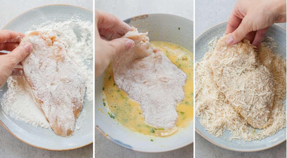 kolaż trzech zdjęć pokazujący etapy panierowania kotletów