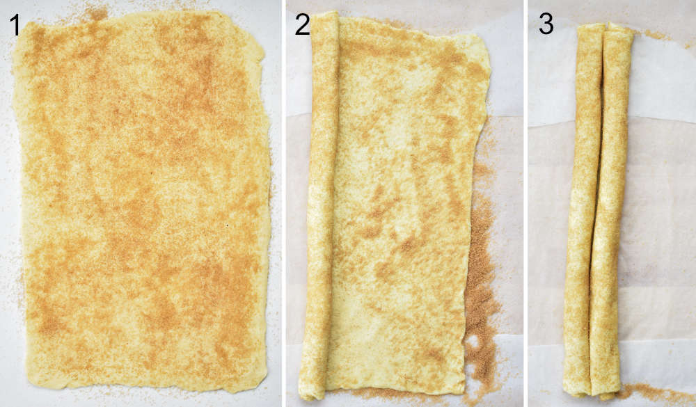 a collage of three photos showing preparation steps of puff pastry cookies