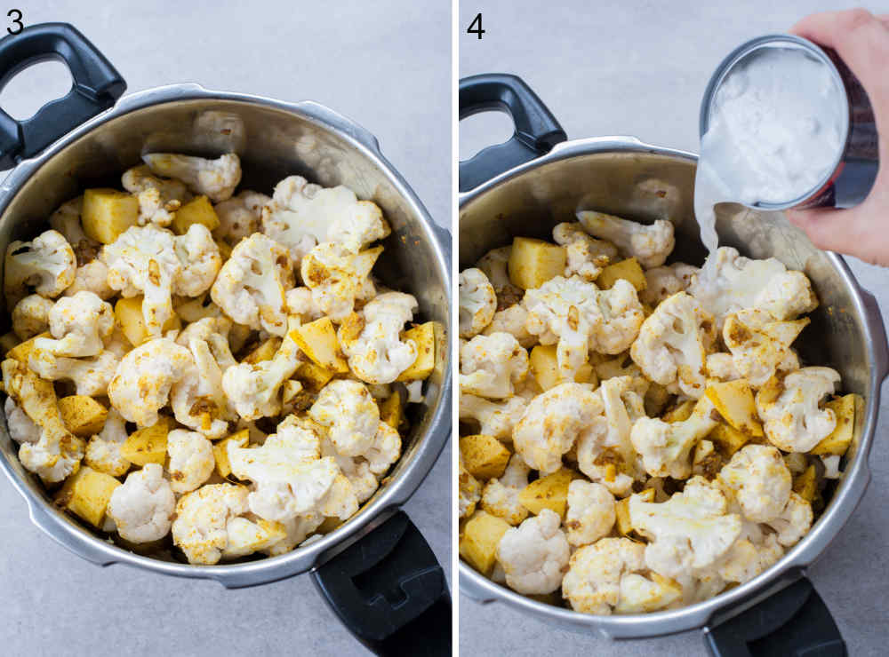 coconut milk is being added to a big pot with cauliflower florets and potato chunks