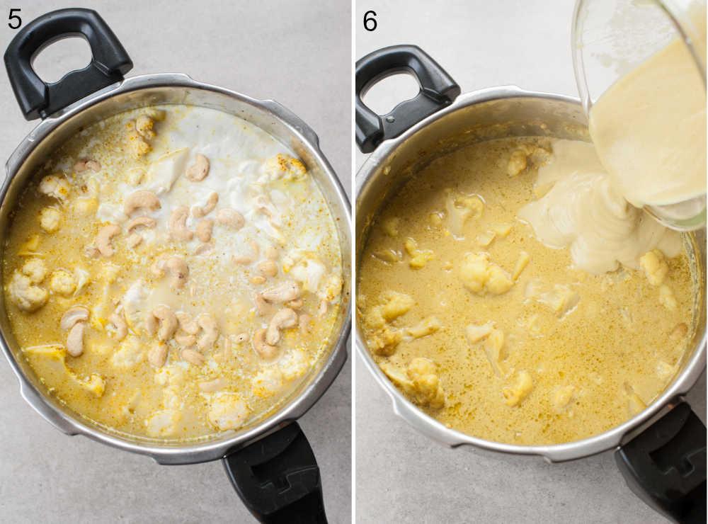 zmiksowana część zupy dodawana do zupy kalafiorowej w garnku
