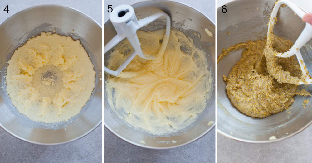 collage of three photos showing the making of frangipane cream