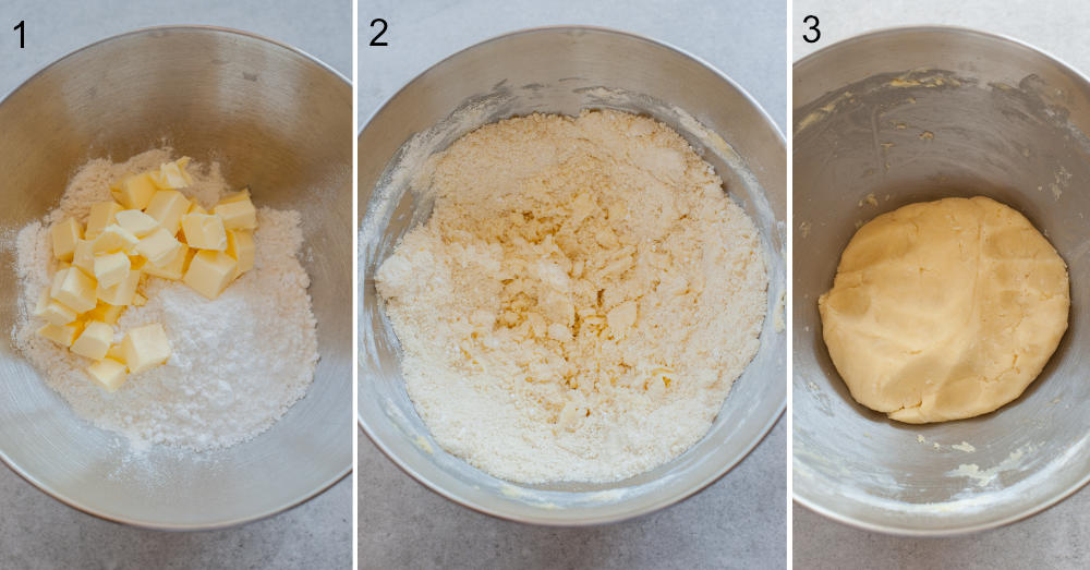 collage of three photos showing the making of pastry crust