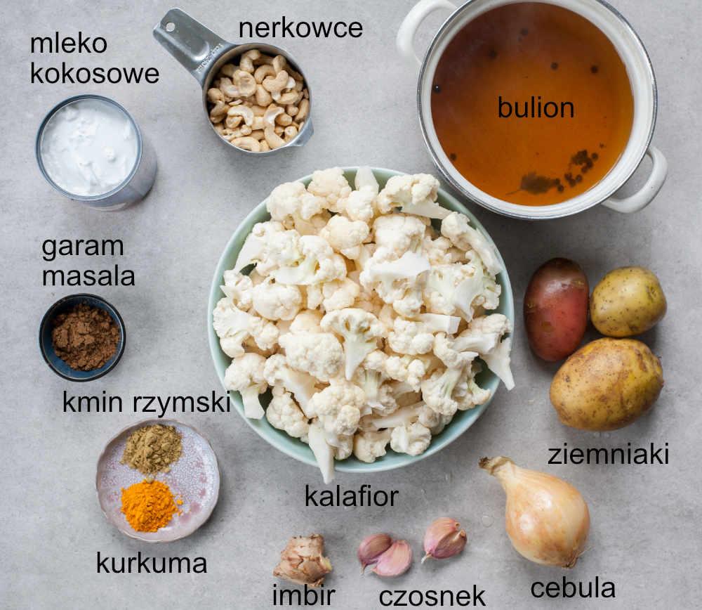 składniki na kokosową zupę kalafiorową