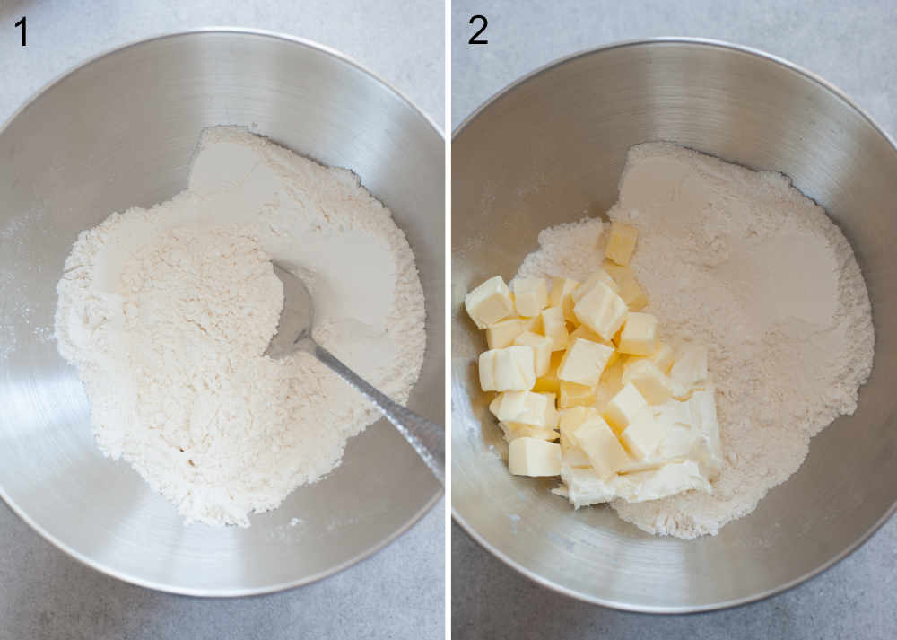 a collage photo showing preparation steps of making a cream cheese pastry crust