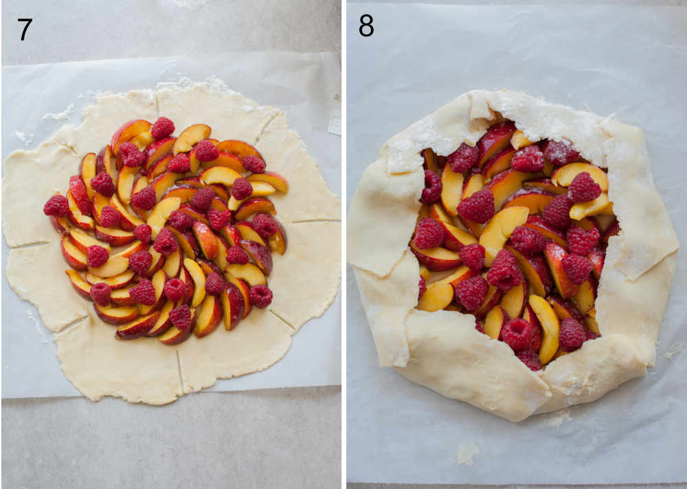 nectarines and raspberries piled in the middle of the rolled out dough